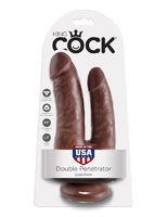 Фаллоимитатор анально-вагинальный коричневый King Cock Double Penetrator