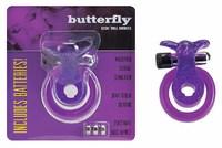 Кольцо эрекционное Бабочка фиол., с вибрацией и подхватыванием мошонки