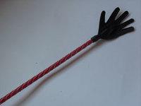 Стек плетеный (длиный), наконечник Ладошка красный лак