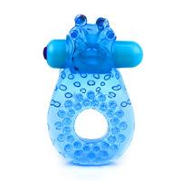 Кольцо эрекционной с вибрацией+усики для стимуляци клитора (голубой)