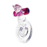 Эрекционное кольцо с вибрацией+дельфинчик для стимуляции клитора (прозрачный)