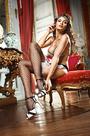 Чулки Shiny French Maid высокие в крупную сетку черные (42-46)
