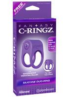 Эрекционное кольцо Silicone Duo-Ring на пенис и мошонку фиолетовое с вибрацией
