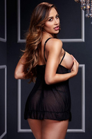 Беби долл Black Sheer Babydoll w/ Open Cup Bra Pan