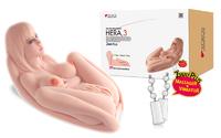 HERA.03 +, мастурбатор женское тело 3D, три отверстия с вибрацией ротацией