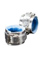 Наручники серебряные с голубым мехом