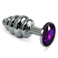 Анальная втулка Silver Spiral с фиолетовым кристаллом