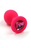 Анальная втулка силиконовая розовая с малиновым кристаллом