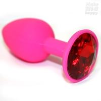 Анальная втулка силиконовая розовая с красным кристаллом