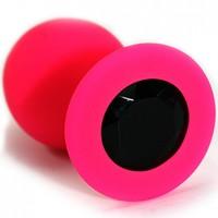 Анальная втулка силиконовая красная с чёрным кристаллом