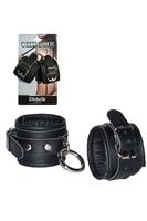 Кожаные наручники с круглым карабином Sitabella Chrome Collection