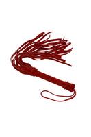 Плеть из натуральной велюровой кожи красная 40см