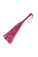 Плеть из натуральной велюровой кожи розовая 40см