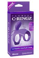 Эрекционное кольцо-насадка Ultimate Couples Cage на пенис и мошонку фиолетовое с вибрацией