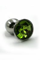 Анальная пробка из аллюминия со светло-зеленым кристаллом (Medium)