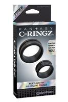 Набор из 2-х эрекционных колец Max-Width Silicone Rings черный
