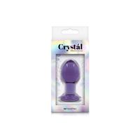 Анальная пробка стеклянная средня фиолетовая Crystal - Medium - Purple