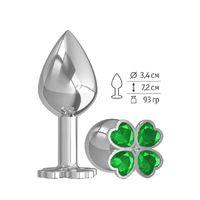 Средняя анальная втулка Silver Клевер с зеленым кристаллом