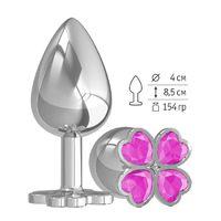 Большая анальная втулка Silver Клевер с розовым кристаллом