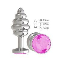 Анальная втулка Silver Spiral с розовым кристаллом маленькая
