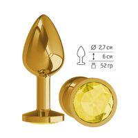 Анальная втулка Gold  с желтым кристаллом