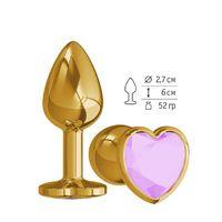 Анальная втулка Gold с сиреневым кристаллом сердце